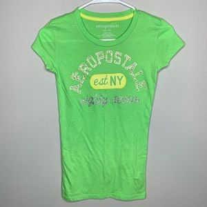 Aeropostale Lime Green Fitted T-Shirt